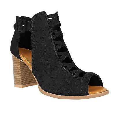 52d7d03409 Runcati Womens Peep Toe Chunky Block Heels Ankle Strap Zipper Back High  Heel Sandals