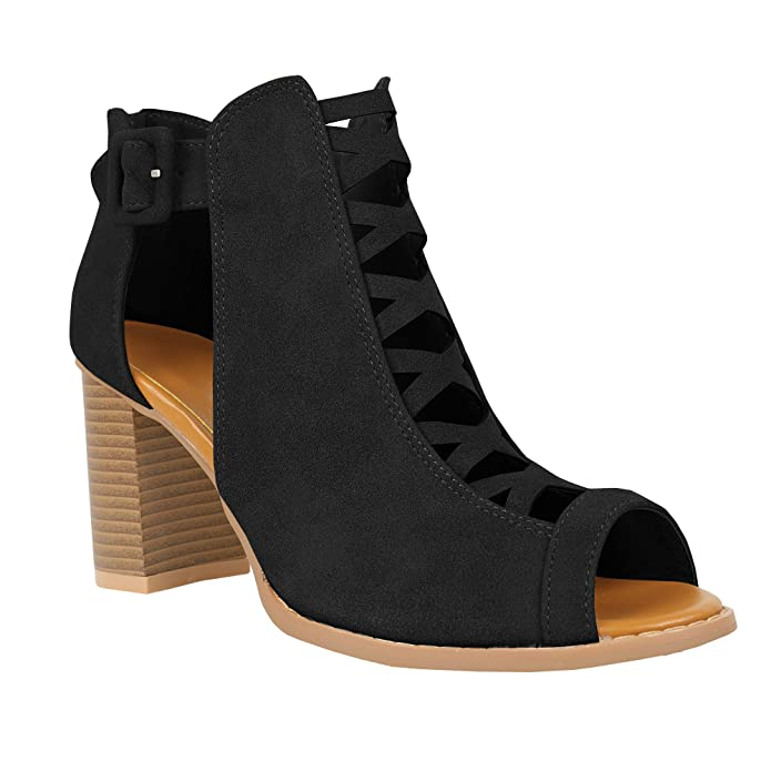 876fa93abbc61 Amazon.com   Runcati Womens Cut Out Ankle Boots Peep Toe Sandals Chunky  Block Heel Strappy Platform High Zipper Booties   Heeled Sandals