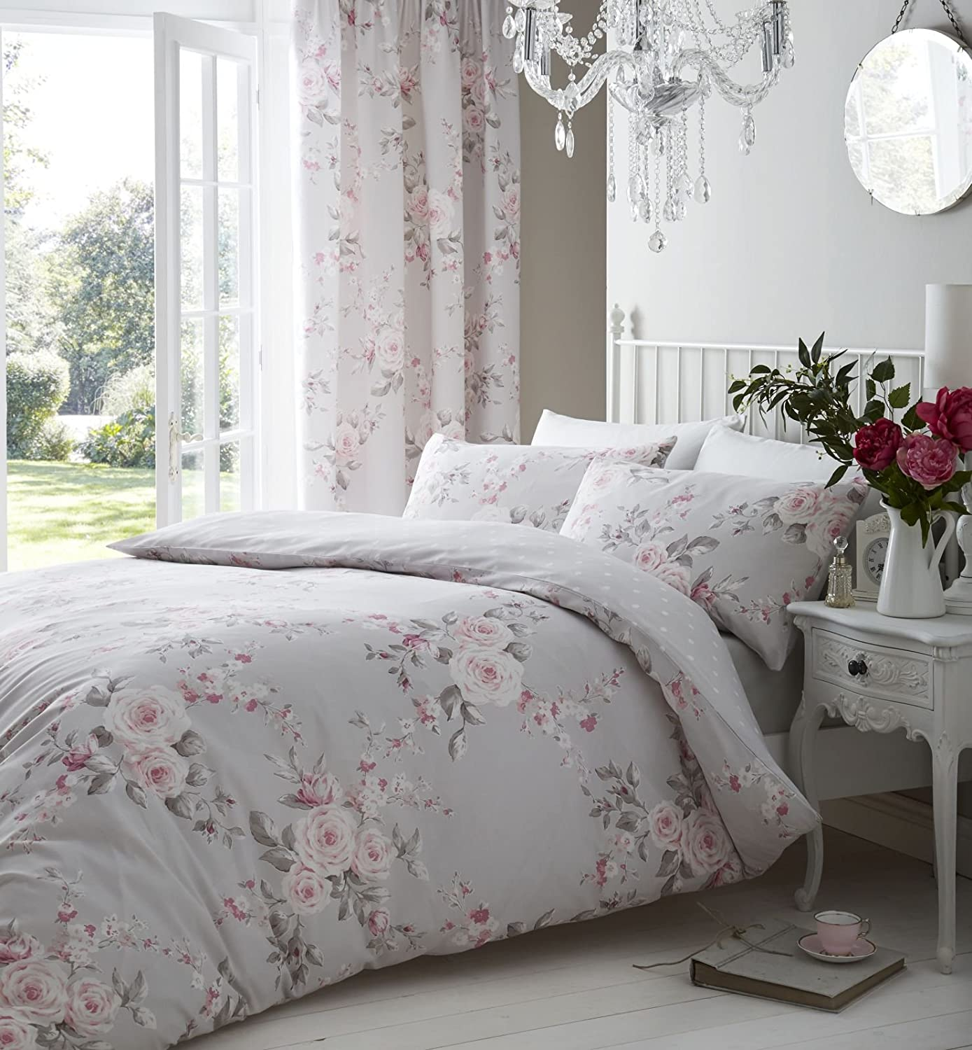 Catherine Lansfield Canterbury Easy Care Double Duvet Set Grey Turner Bianca BD/28239/W/DQS/GY
