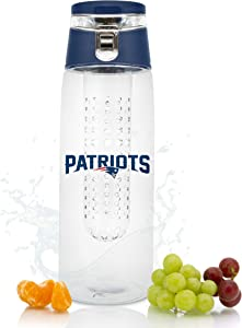 NFL New England Patriots Fruit Infuser Sport Water Bottle | Food Grade Material | Leak-Proof Flip Top Lid | Removable Infusion Rod | Easy to Clean | BPA-Free | 20oz