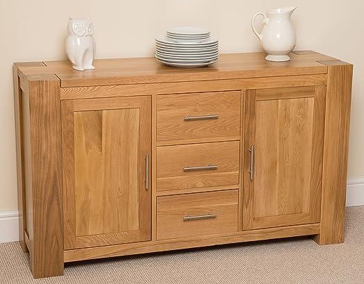 Kuba Solid Oak Large Sideboard/Cabinet, 140 x 42 x 82 cm: Amazon ...