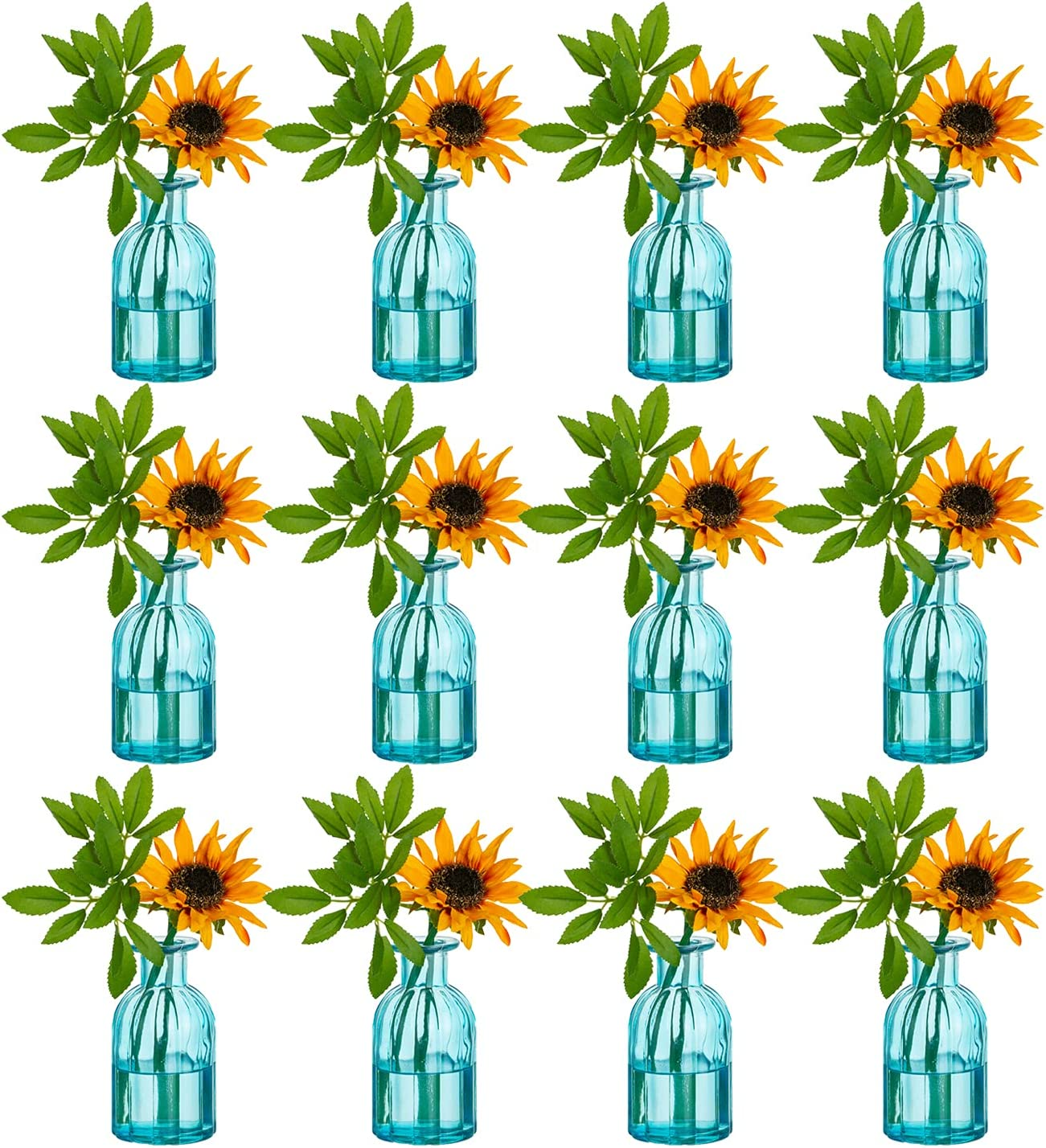 Glass Cylinder Vases Stripe 12Pcs for Centerpieces, Blue Bud Vases, Decorative Glass Bottles Flower with Vase for Dining Table Home Wedding Decor