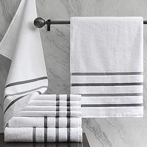 Comfort Spaces Ultra Soft Bathroom Towels Set - 8 Piece Zero Twist, Quick Dry, Premium Absorbant White Cotton Towels Bath/Bathroom Set incl. 2 Shower Towel 2 Hand Towel and 4 Face Towel