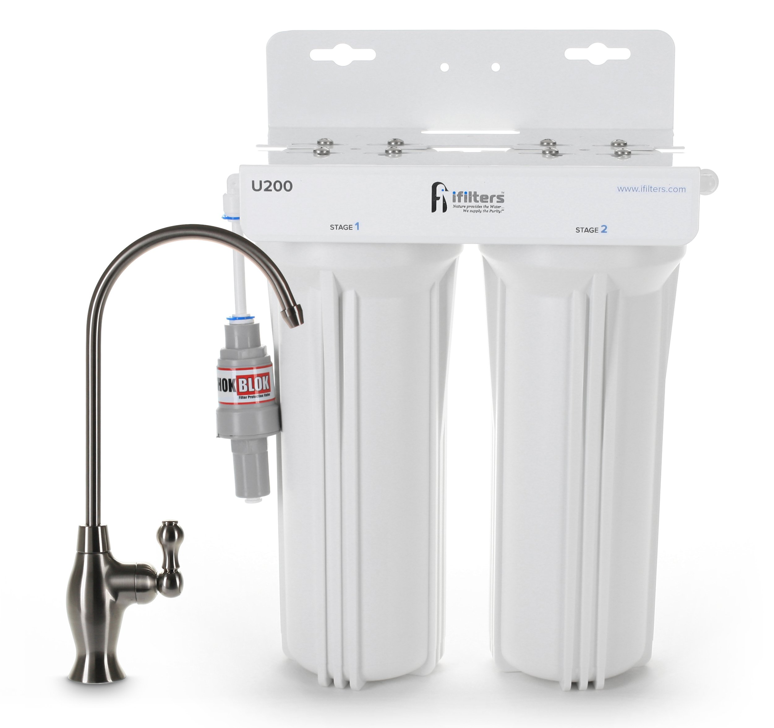 U200 Premium Drinking Water Filtration System 2 Stage w/Designer Faucet & Protection Valve, Built in USA