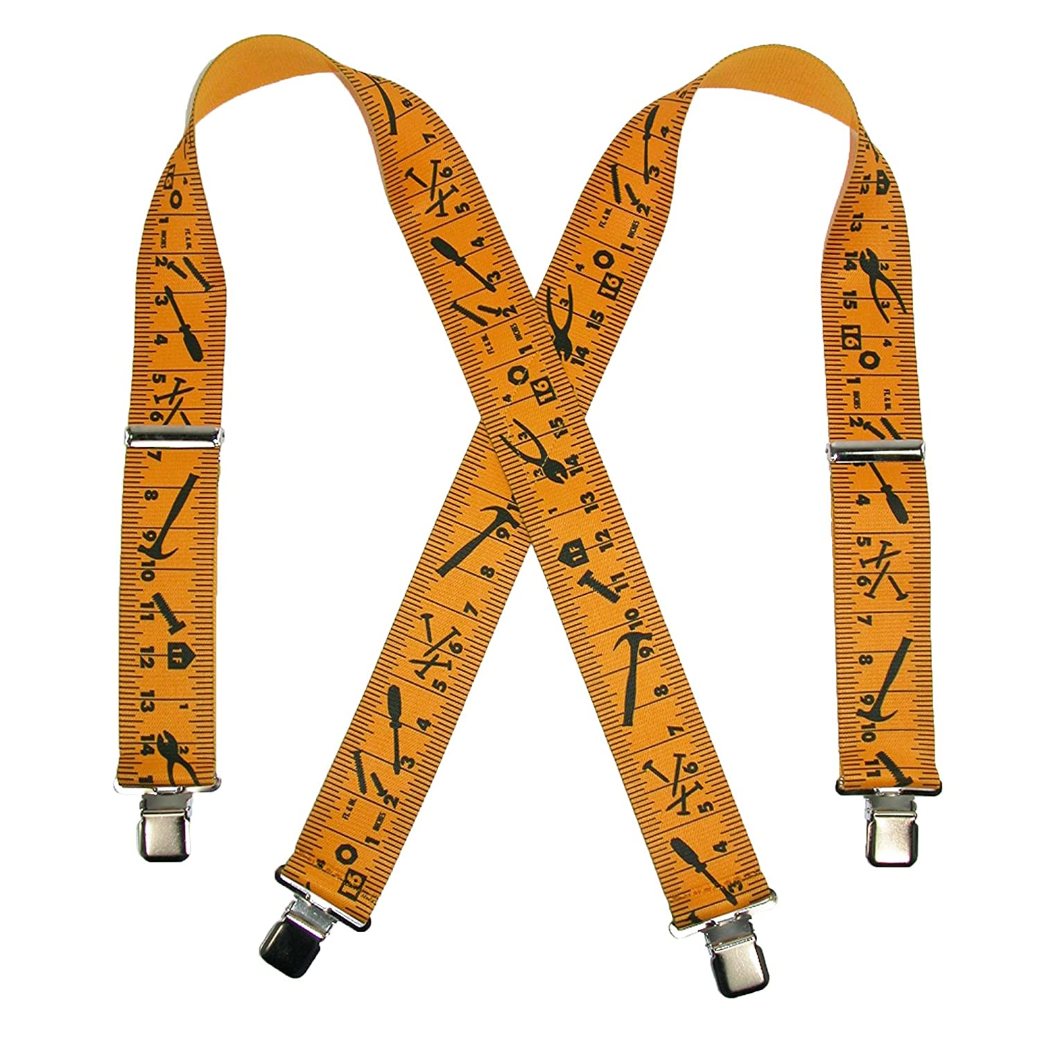 CTM Men's Elastic Clip-End 2 Inch Tape Measure Suspenders, Yellow/Black SF-UA250N-TM-YELBLK