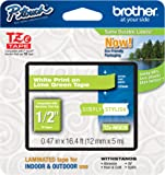"Brother Genuine P-touch Tze-MQG35 Label Tape 1/2"" (0.47"") Standard Laminated P-touch Tape, White on Lime Green, Laminated for Indoor or Outdoor Use, Water Resistant, 16.4 Feet (5M), Single-Pack (TZeMQG35)"