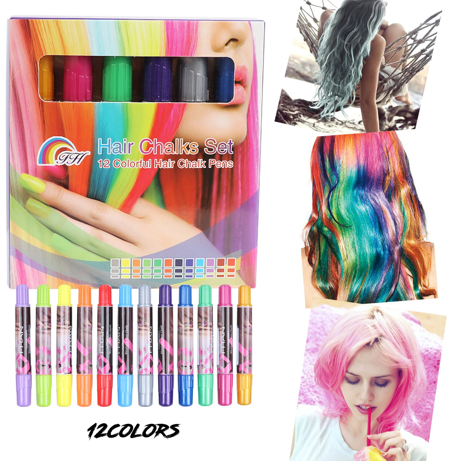 Temporary Bright Hair Chalk Set - XIAO MO GU 12 Colorful Hair Chalk Pens for All Hair Colors- Non-Toxic Portable Hair Coloring Chalk for Girls, Great Christmas Birthday Gifts Present for Girls