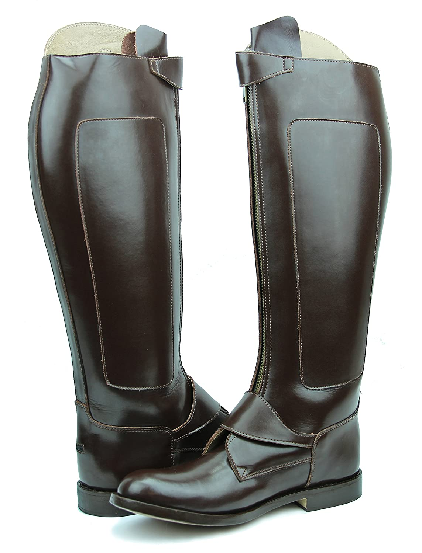Hispar invader-2 LadiesレディースTall Knee HighレザーEquestrian Poloブーツ 7.5 Plus Calf ブラウン B01M1VGLWB