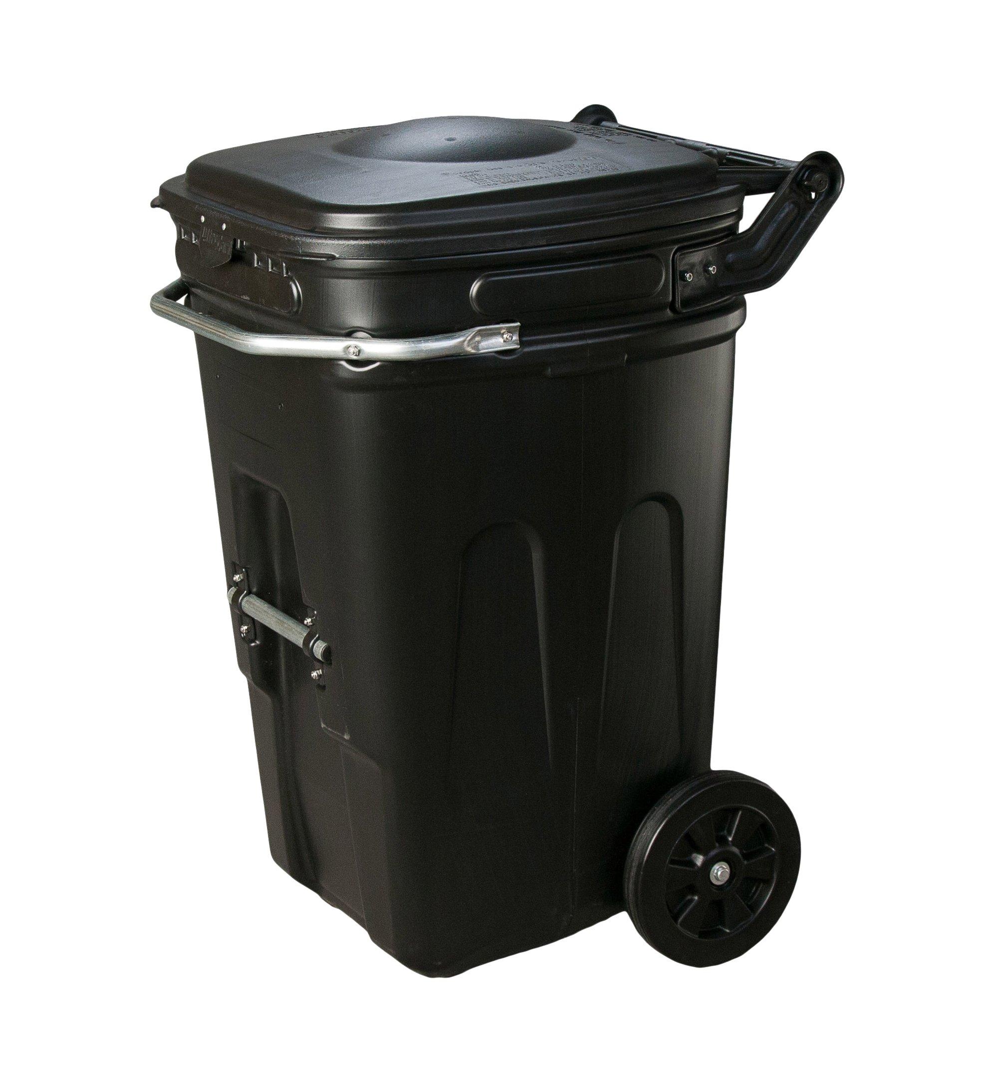 Eagle 1696BLK Wheeled Waste e-Cart with Lid, 65 gal, Black