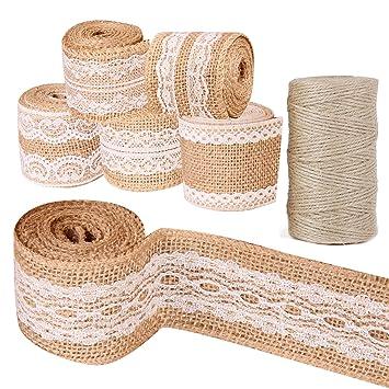 Faylapa Paquete de 6 rollos de cinta de artesanía de arpillera natural con encaje blanco +