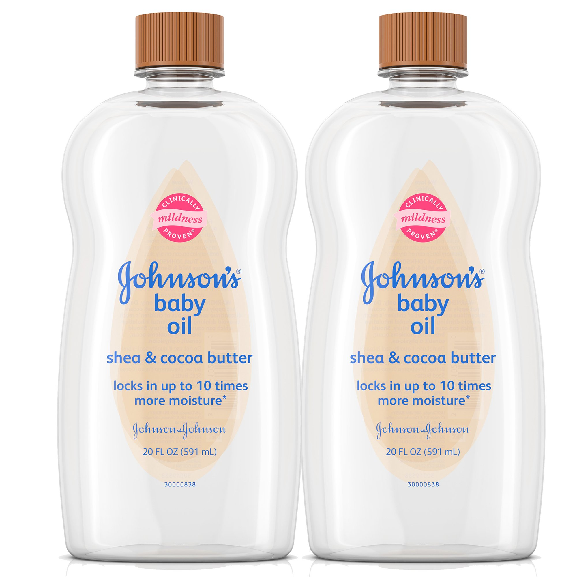 Johnson's Baby Oil With Shea & Cocoa Butter, 20 Fl. Oz (2-Pack (20 Fl. Oz))
