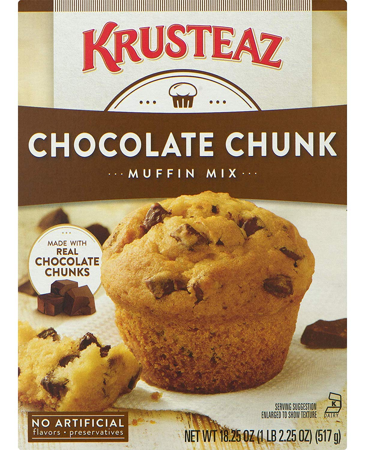 Krusteaz Chocolate Chunk Muffin Mix - No Artificial Flavors/Preservatives - 18.25 OZ Box (Pack of 6)
