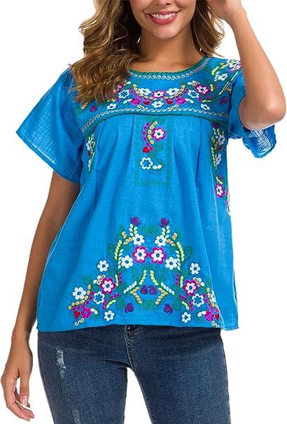 Amazon.com: YZXDORWJ Blusa de campesina mexicana bordada ...