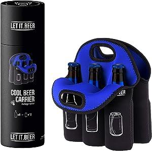 Neoprene Beer Bottle Holder - Neoprene Bottle Carrier - Bday Unique Gag Gifts for Men -6 Pack Neoprene Insulated Beer Bottle