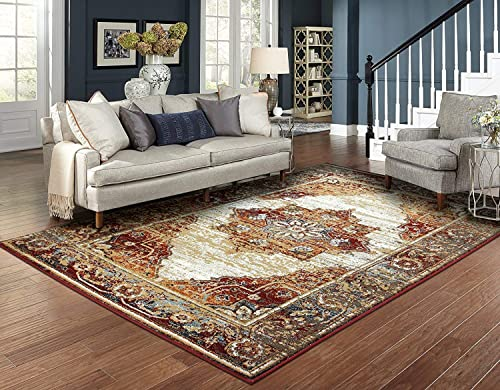 Luxury Distressed Rugs for Living Room 8×10 Red Rug Prime Rugs 8×11