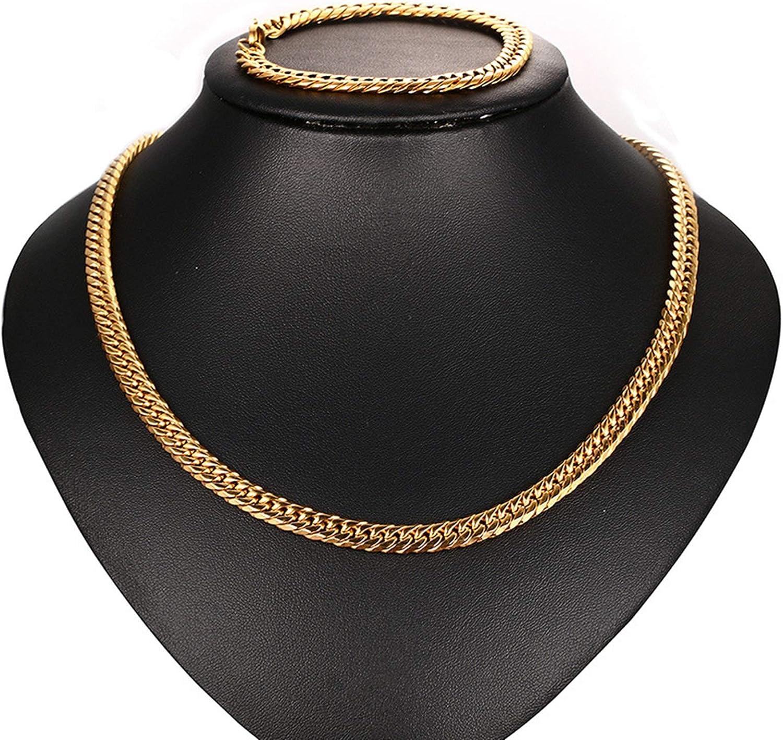 Aeici Conjunto de Joyas de Titanio Collar de Cadena Hombre Pulsera Hombre Cadena Bordillo Cadena Punk Hip Hop Pulseras 21.5 Cm,Collar 56//60//62Cm
