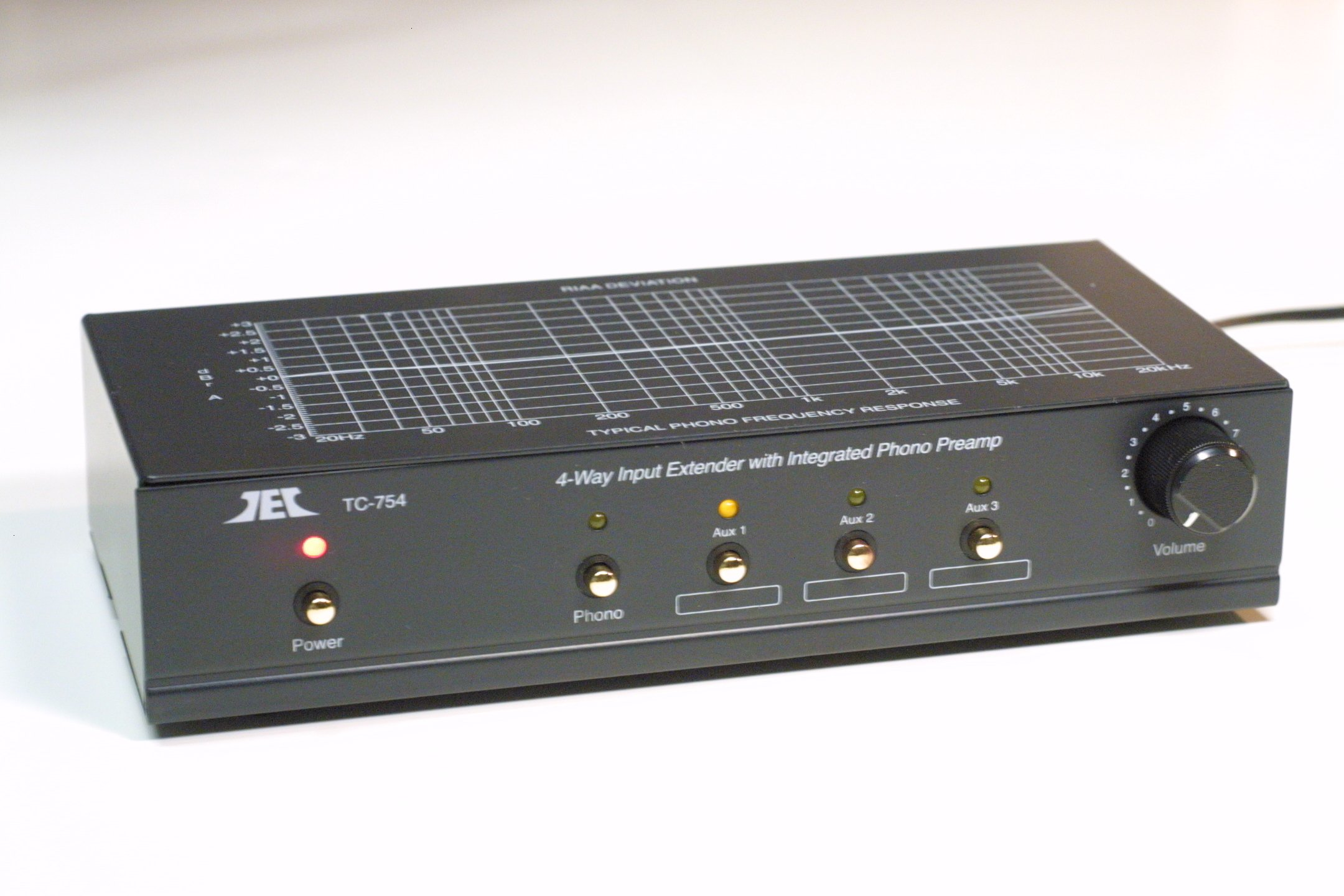 TCC TC-754 BLACK RIAA Phono Preamp With Three Switchable Aux Inputs; includes optional PREMIUM HIGH POWER AC Adaptor