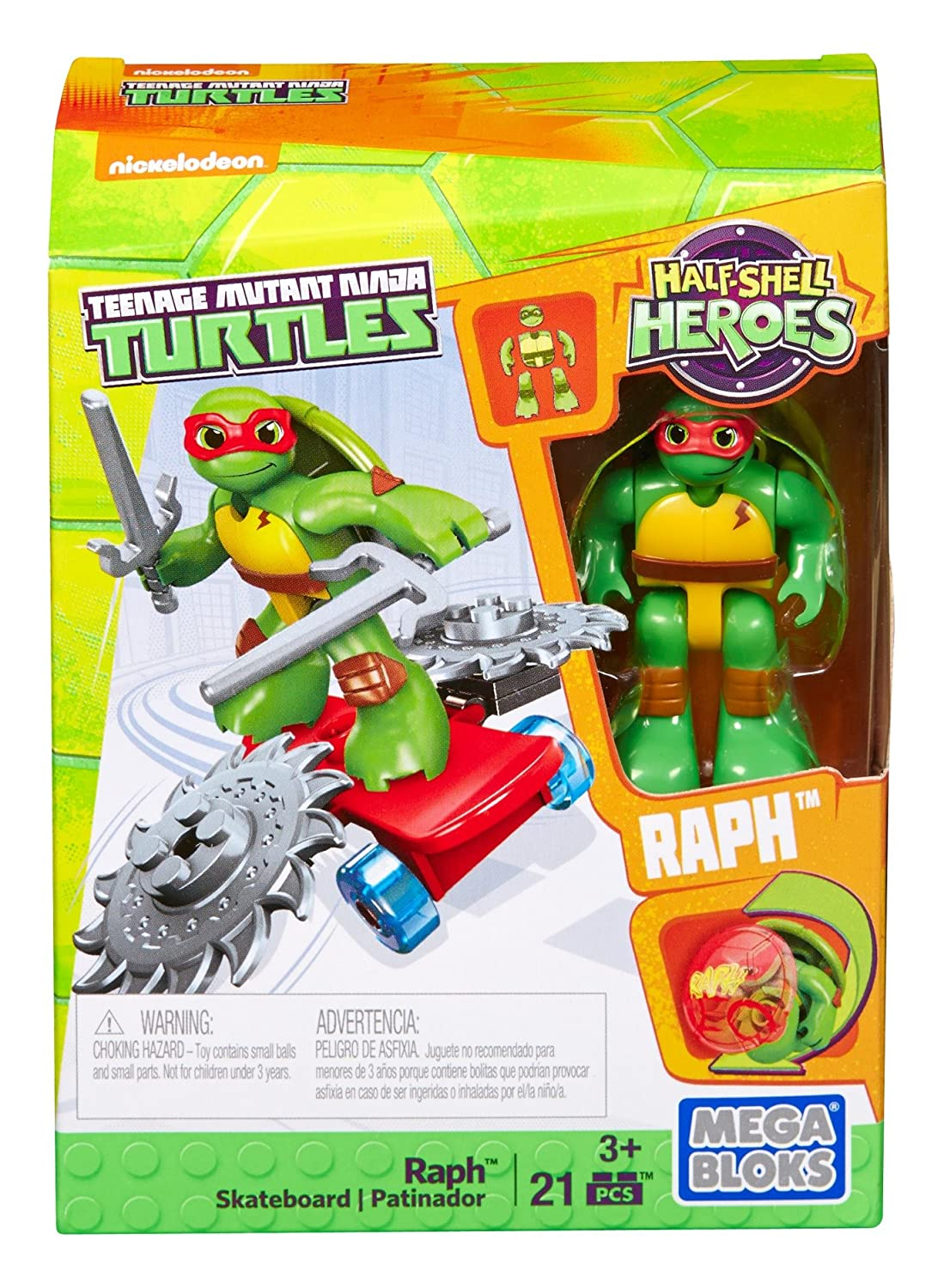 Mega Bloks Teenage Mutant Ninja Turtles Half-Shell Heroes Raph with Skateboard