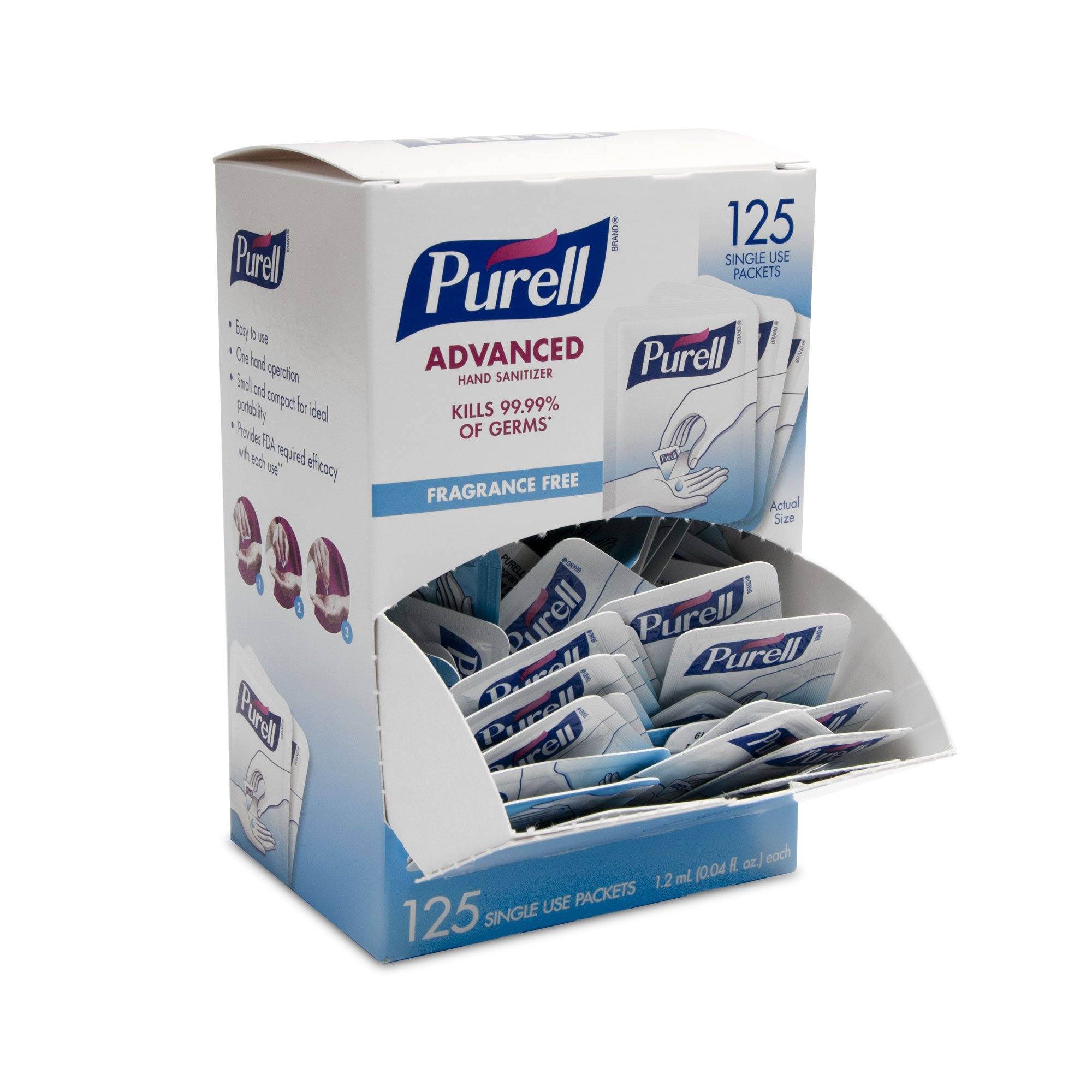 PURELL Advanced Hand Sanitizer Singles - Travel Size Single Use Individual Portable Packets, 125 count Self Dispensing Packets in a Display Box - 9620-12-125EC by Purell (Image #5)