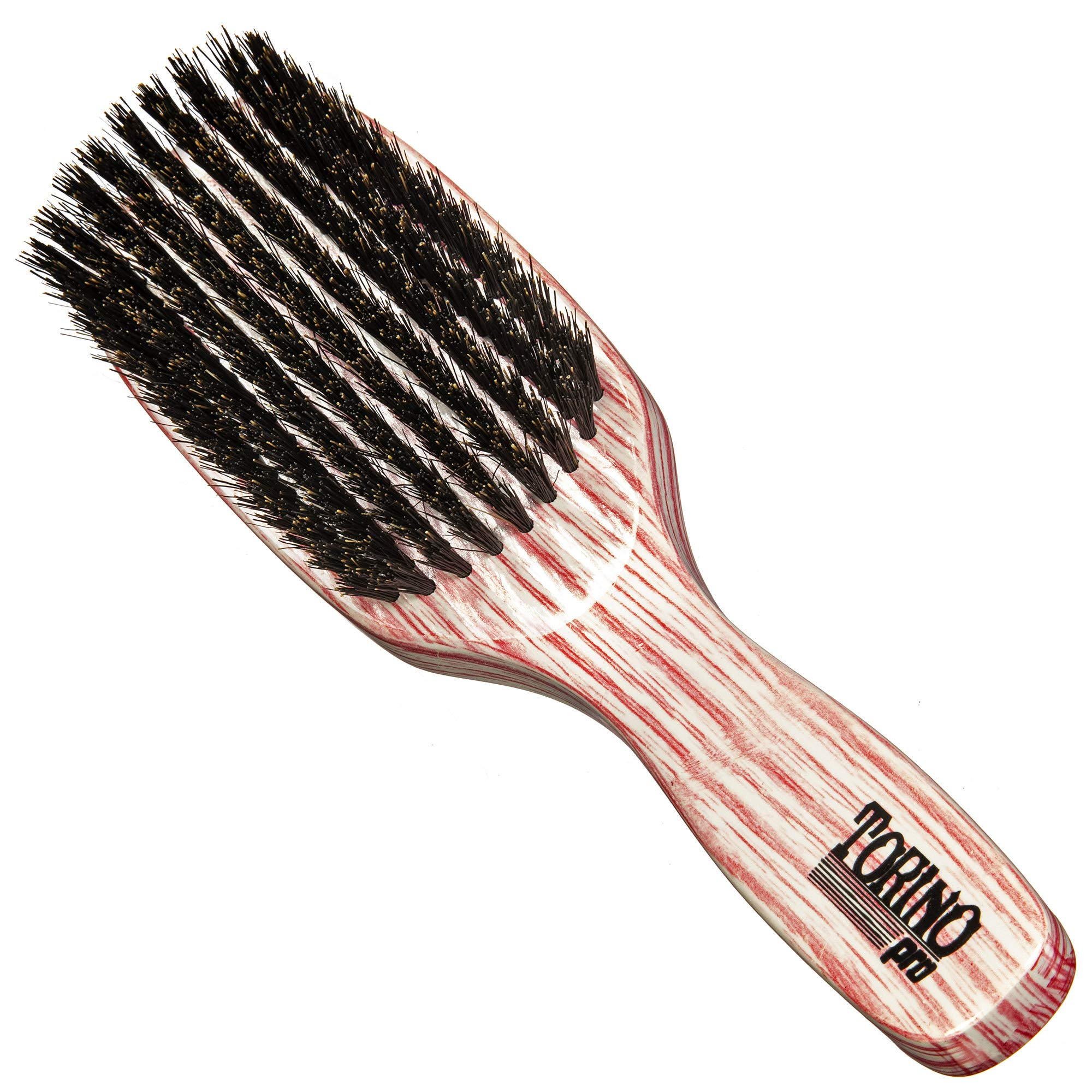 Torino Pro Medium Brush #2010- 9 row Medium Bristles hair brush for men -100% medium boar bristles - Great for wolfing and Connections for 360 Waves - Great for vertical brushing