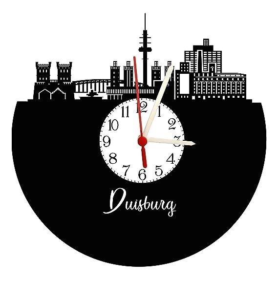 Reloj De Pared Duisburg Skyline con esfera, placa acústica Reloj con mecanismo de cuarzo,