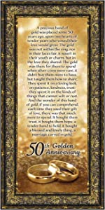 Crossroads Home Décor 50th Wedding for Parents, 50th Anniversary Decorations for Party, Golden Anniversary 50 Year Gifts, 50th for Couples, Gift to add to Your 50th Anniversary Card 7318R