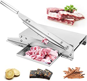 BAOSHISHAN Meat Slicer Manual Ribs Meat Chopper Bone Cutter for Fish Chicken Beef Frozen Meat Vegetables Deli Food Slicer Slicing Machine Home and Commercial Use
