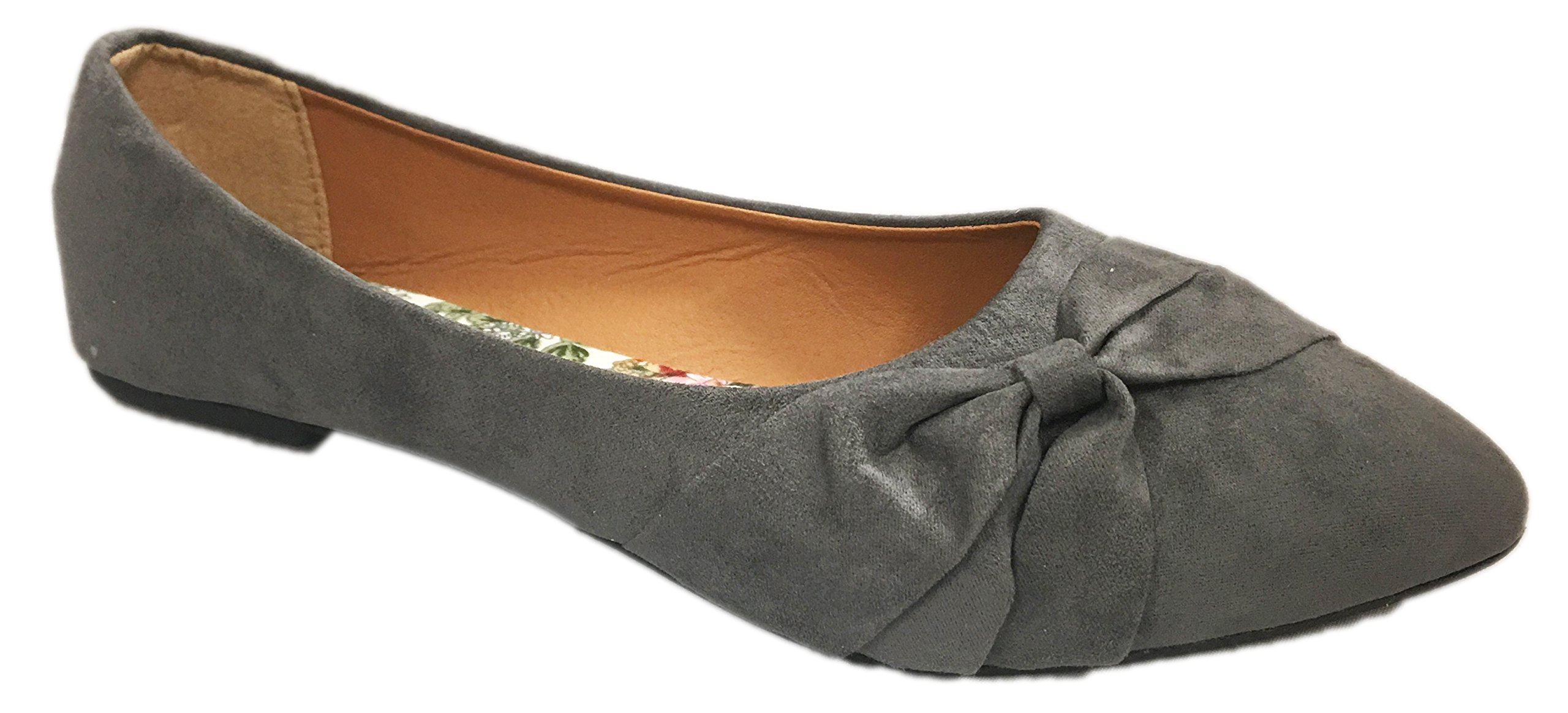 Womens Flats Jersey Soft and Faux Vegan Leather Comfortable Basic Canvas Slip On Ballet Shoes Dress Shoes (7, Grey Suede Vegan) by Shop Pretty Girl (Image #1)