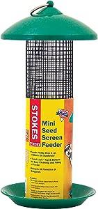 Stokes Select Mini Mesh Screen Bird Feeder with Metal Roof, Green, 1.2 lb Seed Capacity