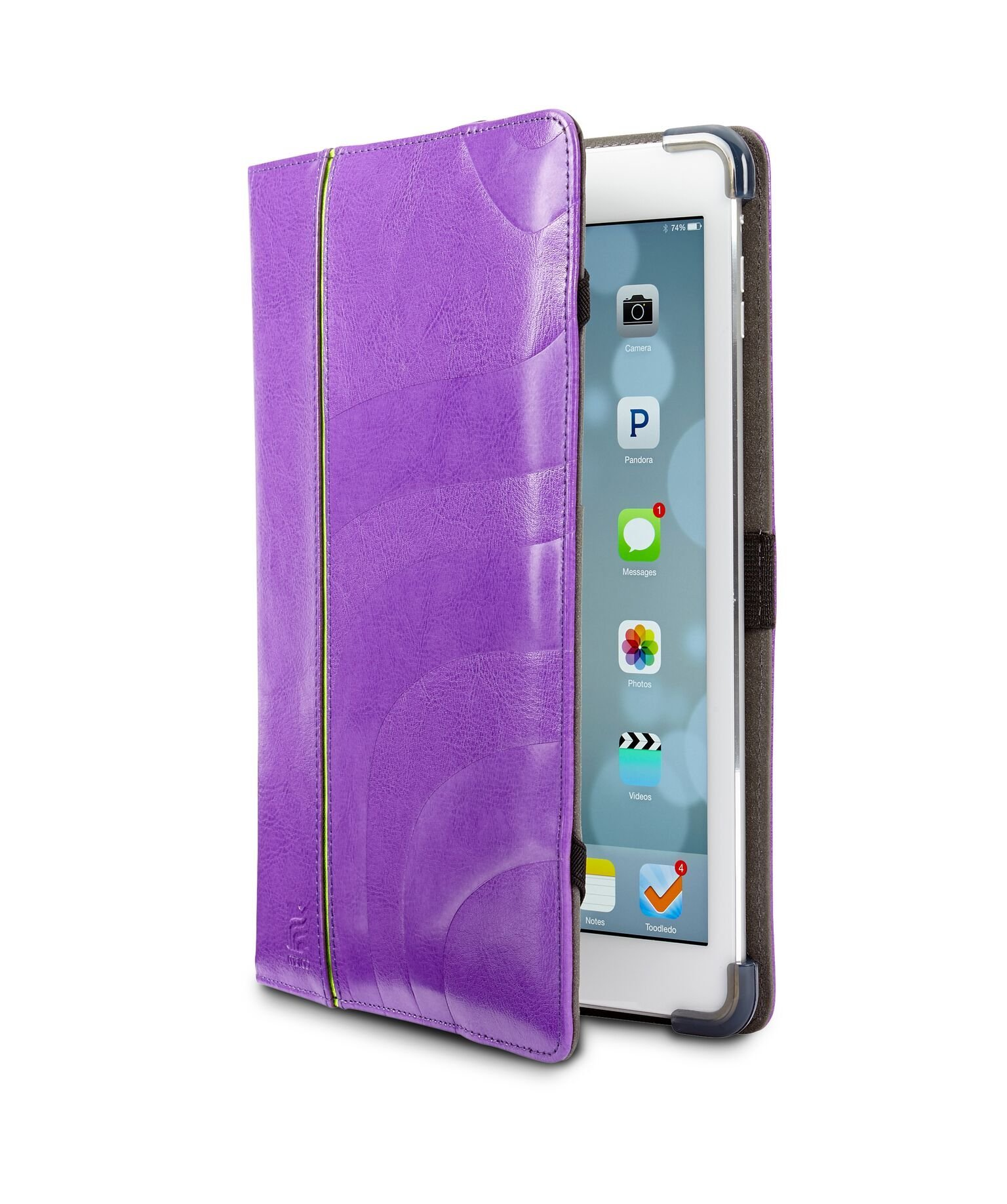 Maroo iPad Air Case - Vibrant Purple Leather Folio with a Foldable Front Cover for Typing and Viewing Angle, Elastic Hand Strap