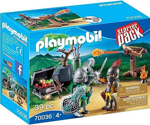 PLAYMOBIL- Starter Pack Starterpack Batalla Medieval, Color carbón (70036): Amazon.es: Juguetes y juegos