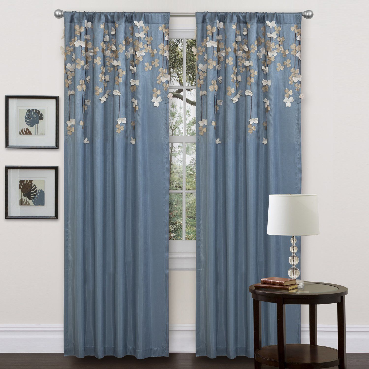 Lush Decor Flower Drop Curtain Panel, Blue