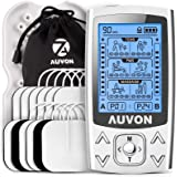 AUVON Dual Channel TENS EMS Unit 24 Modes Muscle Stimulator for Pain Relief & Muscle Strength for Tired and Sore Muscles in Y
