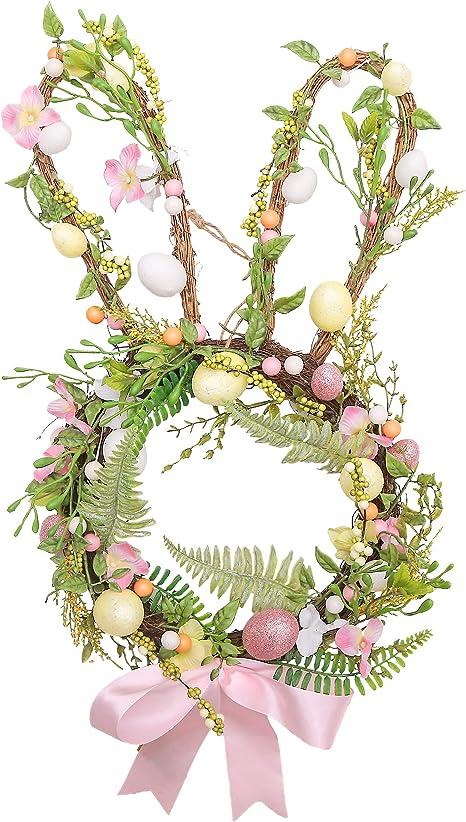purple and pink spring wreath spring door hanger Purple and pink egg shaped Easter wreath
