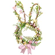 """Valery Madelyn 22"""" Spring Bunny Front Wreath with Pink Bow and Eggs for Front Door and Indoor Wall Decorations"""