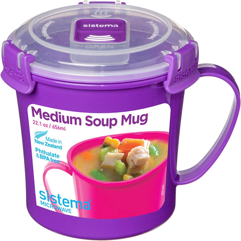 656 ml couleurs assort Sistema Klip It Micro-Ondes Soupe to Go Tasse