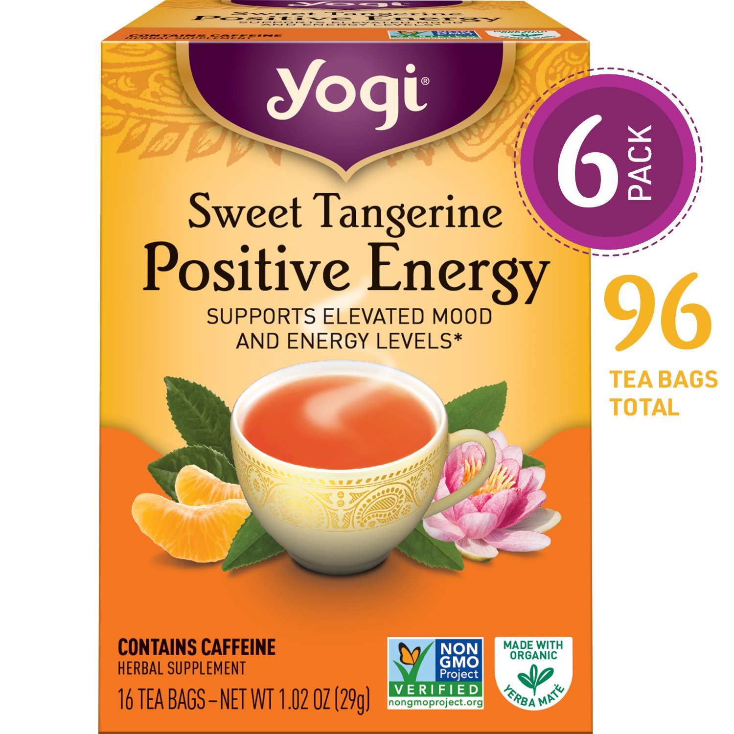 Yogi Teas Sweet Tangerine Positive Energy, 16 Count (Pack of 6), Packaging May Vary