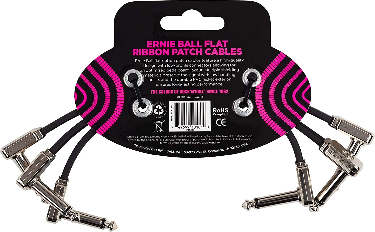"""Ernie Ball  6/"""" Flat Angle//Flat Angle Patch Cable 3-Pack White P06052"""
