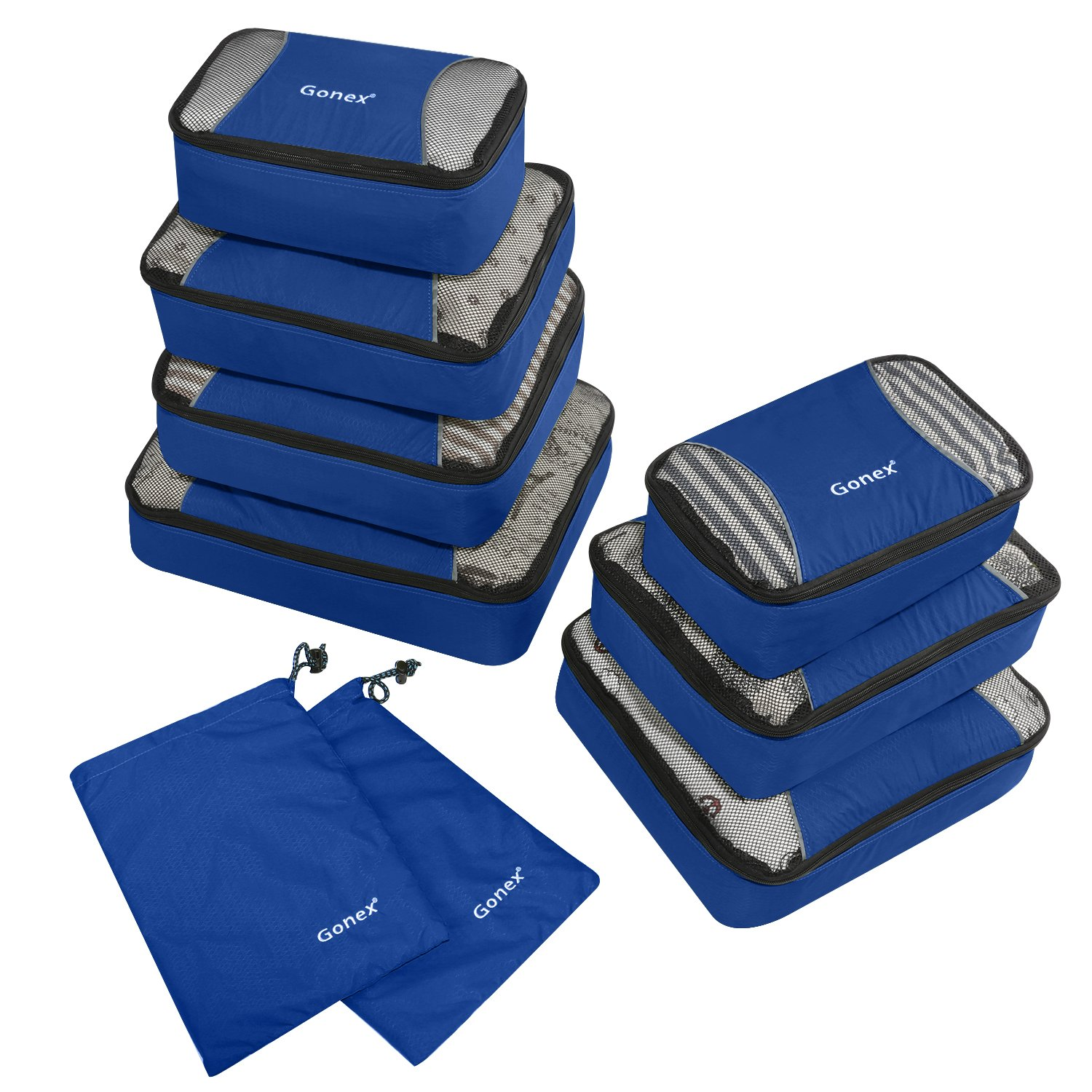 Gonex Packing Cubes Set 9PCs Travel Organizers Luggage Organizers Pouches Including Laundry Bag Deep Blue product image