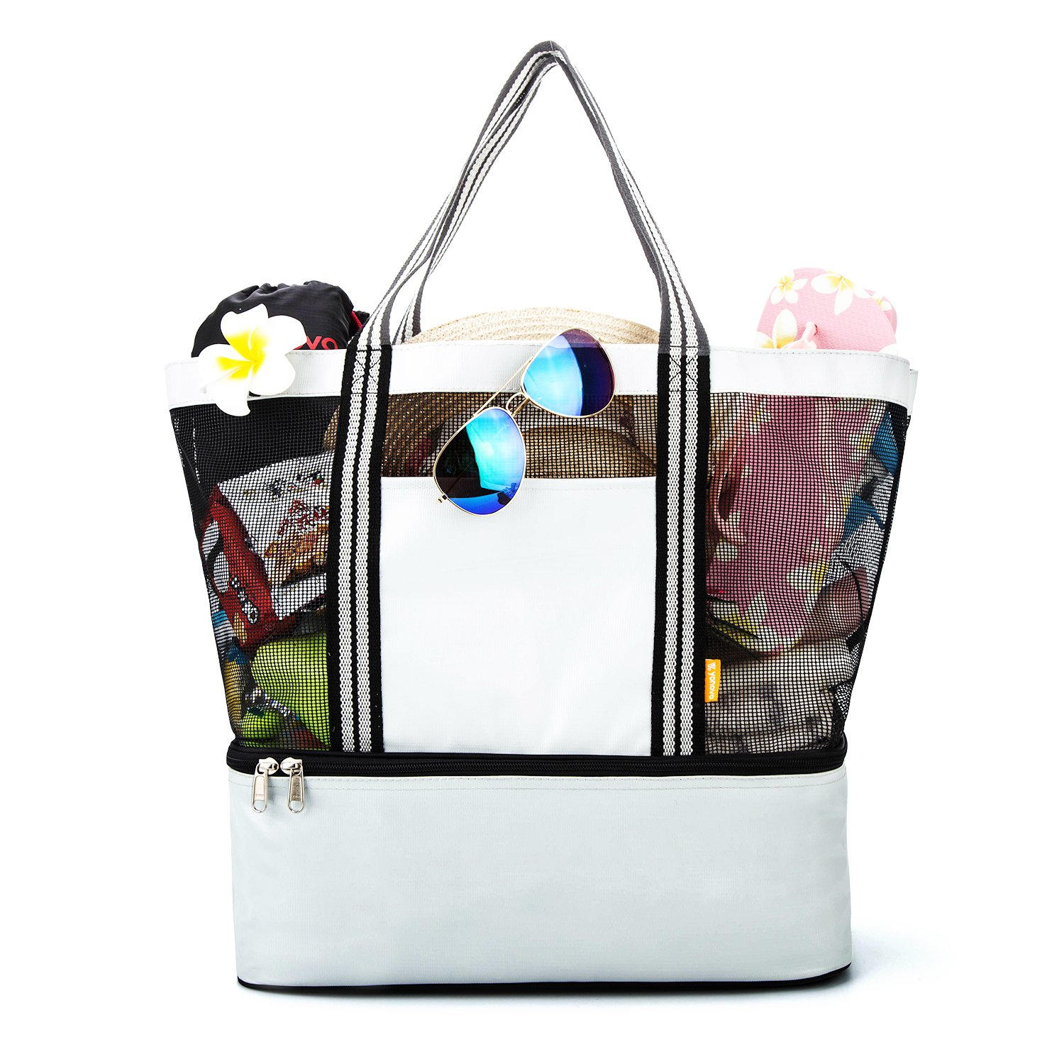 YONOVO Mesh Beach Tote Bag with Cooler,Leak-Proof Insulated with Even Bottom(Ivory)
