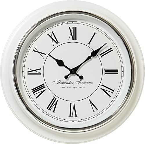Whole House Worlds Classic Analog White Wall Clock, Italian Style, Sant Ambrogio, Quartz Movement, Roman Numerals, Over 1 Ft Diameter, Requires 1 AA Battery Not Included