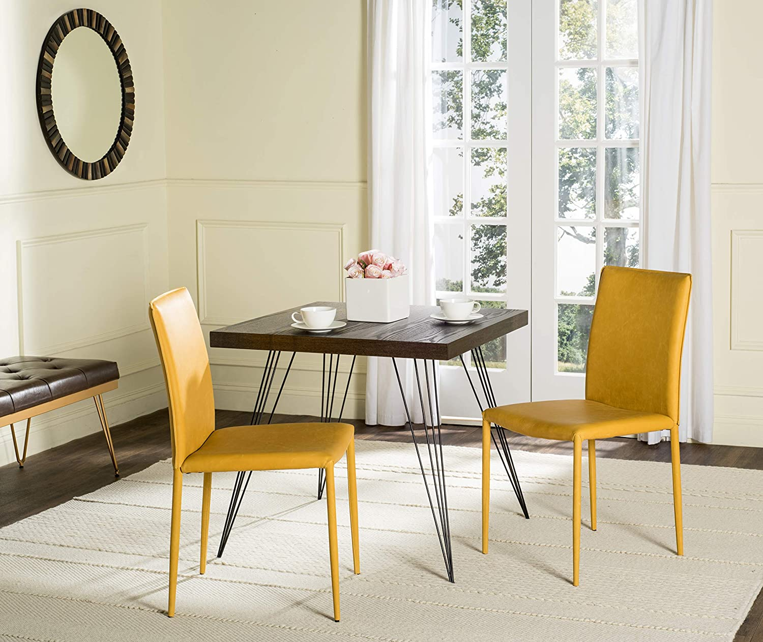 Safavieh Home Collection Karna Antique Yellow Bonded Leather Dining Chair (Set of 2)