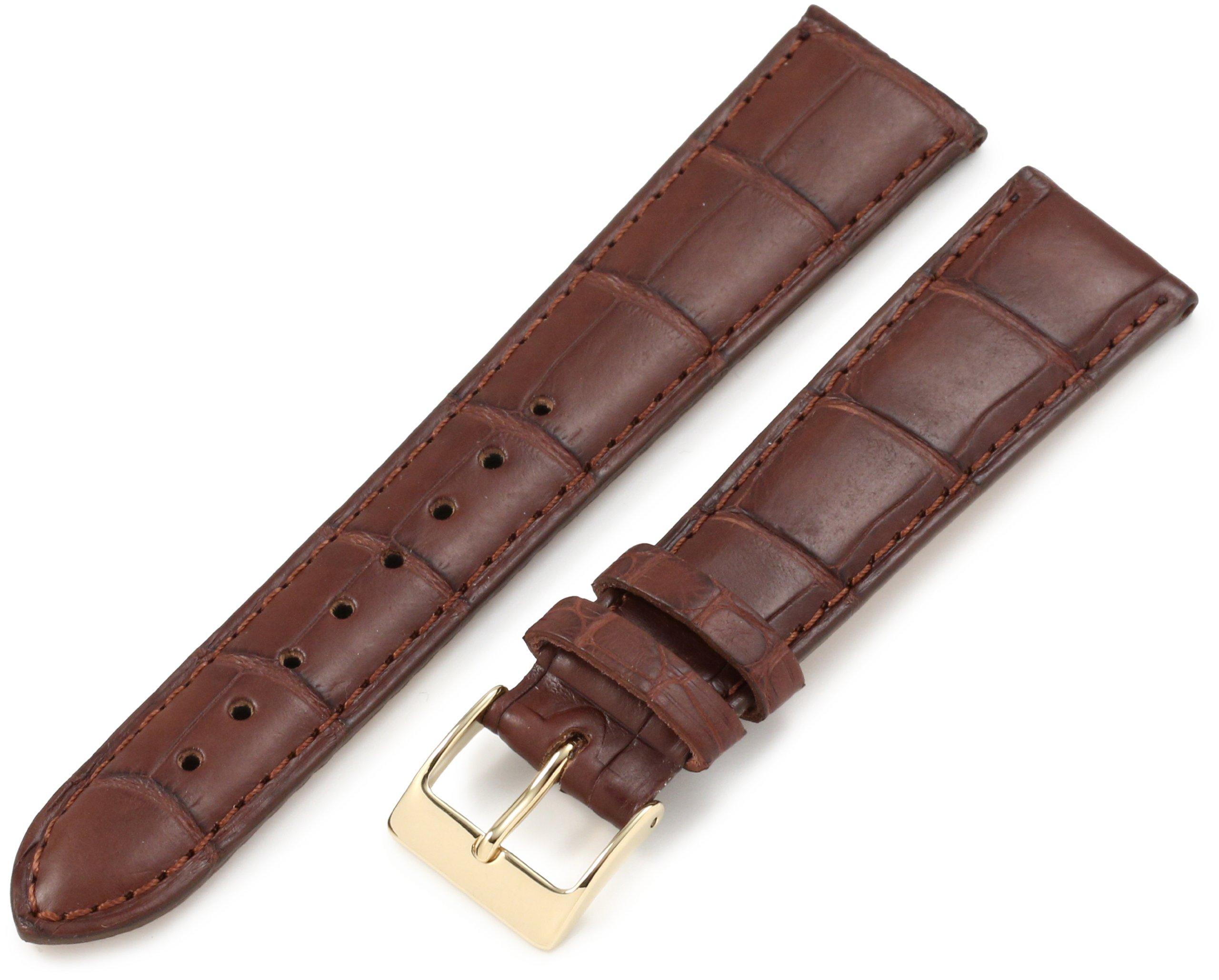 Artisan of Italy 20mm 'Men's Dress Padded Matte Alligator' Leather Watch Strap, Color:Brown (Model: AITPD600-1420MR)