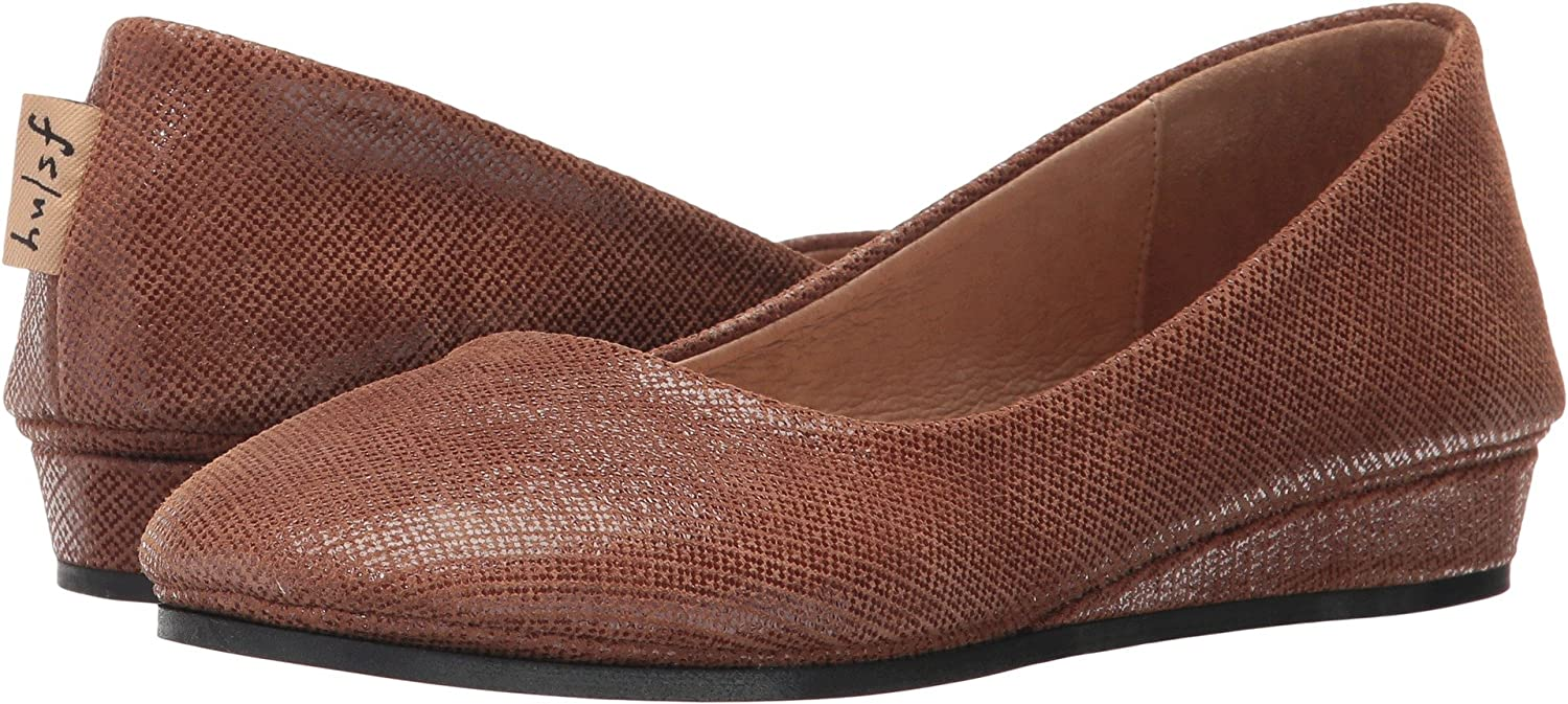 French Sole Women's Zeppa Slip on Shoes B06Y1SXPQ8 6.5 B(M) US|Cognac Box Print