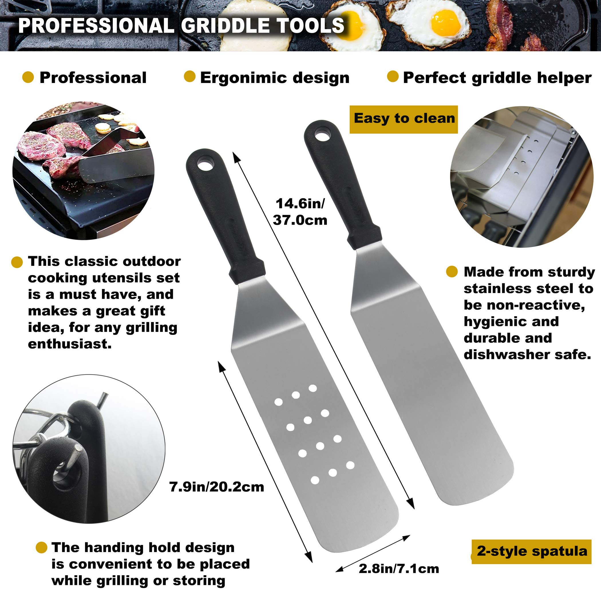 ROMANTICIST 11PC Griddle Accessories Kit with Carrying Bag - Restaurant Grade Griddle Spatula Set for Flat Top Grill Hibachi Cooking - Perfect BBQ Gift for Men Dad on Fathers Day by ROMANTICIST (Image #2)
