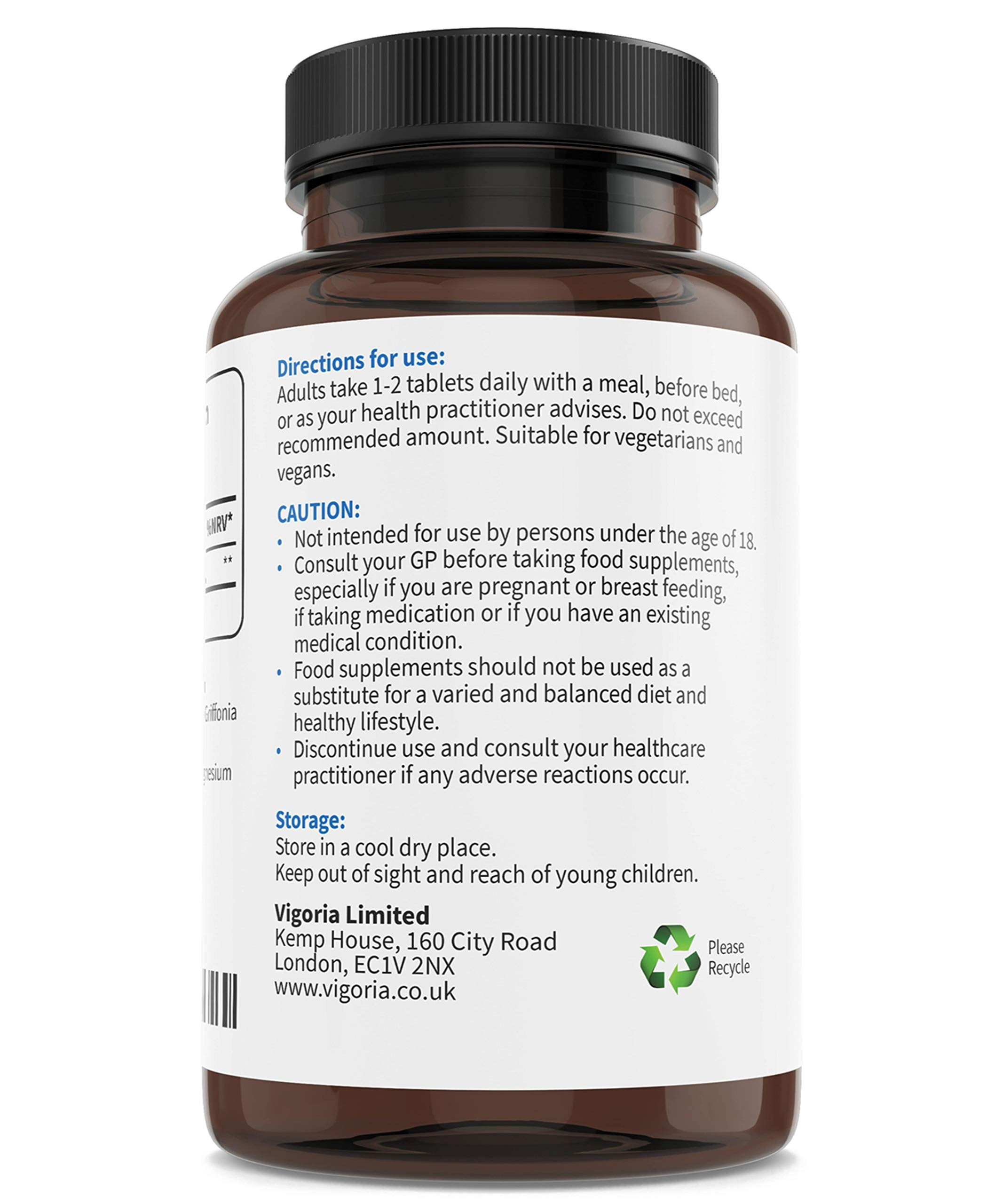5-HTP Sleeping Aid, Natural Alternative for Stress & Anxiety Relief - Griffonia 8:1 Extract - 180 High-Strength Tablets - Non-GMO - Vegan - Allergen-Free - 6 Months Supply - Made in The UK