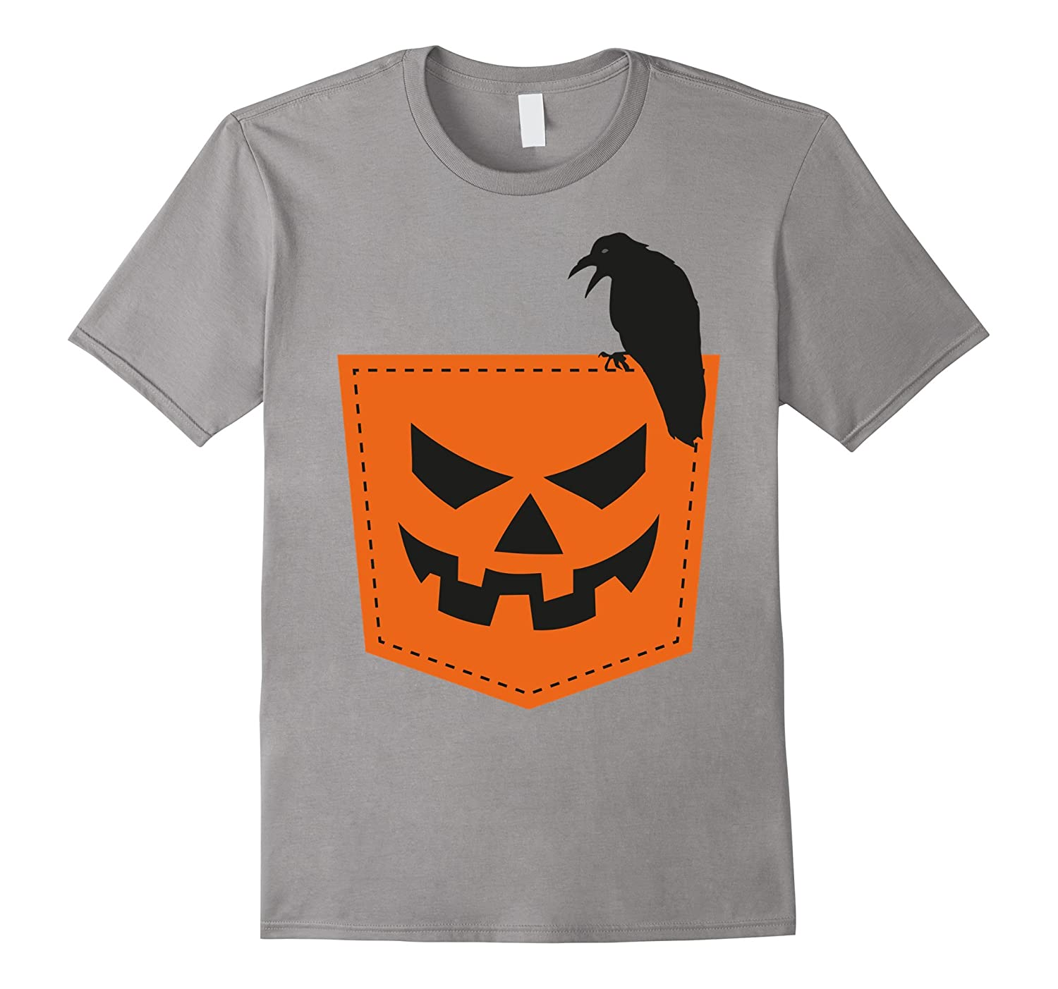 Scary Pumpkin With A Black Crow Bird Halloween T-Shirt-TJ