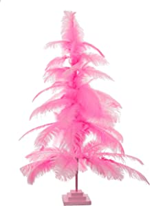 Lee Display Pink Ostrich Feather Christmas Tree w/Real Bird Feathers & Wooden Base Included (5ft)