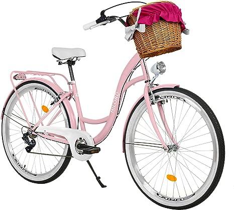 Milord Bikes Bicicleta de Confort, Rosa, de 7 Velocidad y 26 Pulgadas con Cesta y Soporte Trasero, Bicicleta Holandesa, Bicicleta para Mujer, Bicicleta Urbana, Retro, Vintage: Amazon.es: Deportes y aire libre