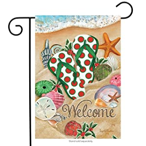 "Briarwood Lane Coastal Christmas Beach Garden Flag Flip Flops Nautical 12.5""x18"""
